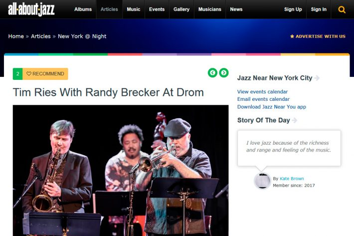 Tim Ries With Randy Brecker at Drom